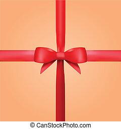 Vektorrotes Geschenkband mit Bogen