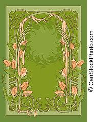 Vektorschema von Kunst-Deco-Poster mit Tulpen und Schleifen.