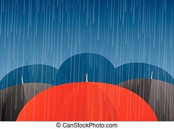 Vektorschirme und Regentropfen.