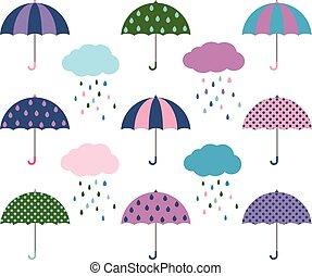 Vektorschirme und Wolken mit Regentropfen.