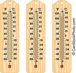 Vektorset aus Holzthermometern.
