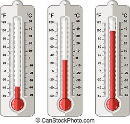 Vektorset von Thermometern auf verschiedenen Ebenen.