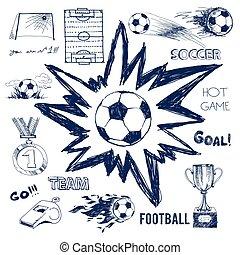 Vektorskizze von Fußballelementen.