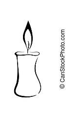 Vektorsymbol der Kerze.