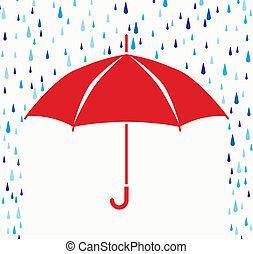 Vektorsymbol des Schutzschirms vor Regentropfen