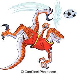 Velociraptor Fahrrad treten Fußballball-Vektor Illustration