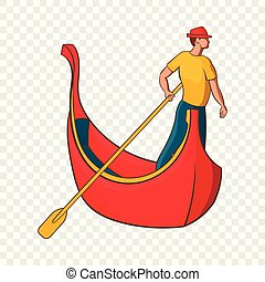 Venedig Gondel und Gondolier Ikone, Cartoon Stil.