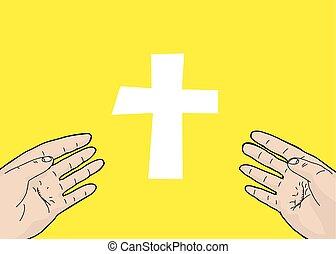 Verängstigte Hände und Kreuz.