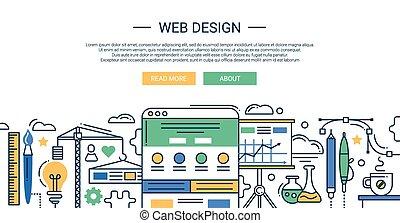 Veranschaulichung der modernen Linien Flat Design Komposition und infographische Elemente mit Website-Entwicklungswerkzeugen. Header, Banner für Ihre Website.
