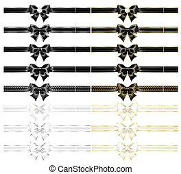 verbeugungen, bänder, weißes, realistisch, schwarz