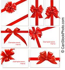 verbeugungen, ribbons., satz, geschenk, groß