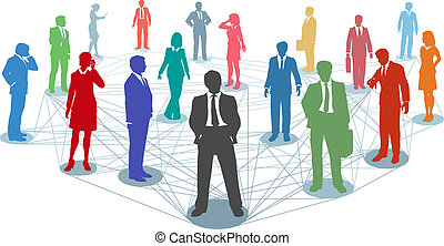 Verbinden Sie Geschäftsleute mit Netzwerkverbindungen