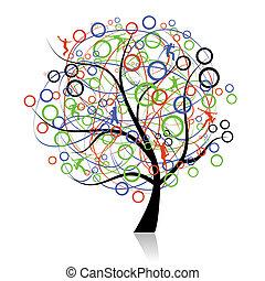 verbinden, völker, baum, web