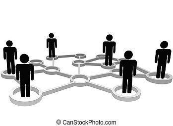 Verbundene Menschen in Knotenpunkten des Geschäfts- oder Sozialnetzes