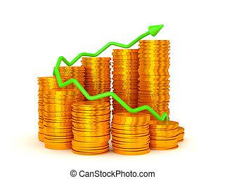 Verdienste und Erfolg: Grüner Graph über Münzenstapel