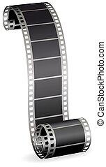 Verdrehte Filmrolle für Foto oder Video auf weißem Hintergrundvektor Illustration