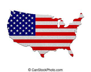 Vereinigte Staaten Karte mit dem Flaggenpapier.