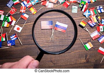 vereinigte staaten markierungsfahnen, russland, amerika