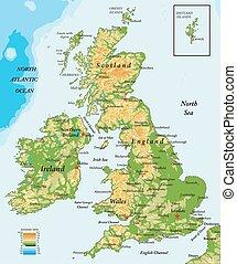 vereinigtes königreich, landkarte, ireland-physical