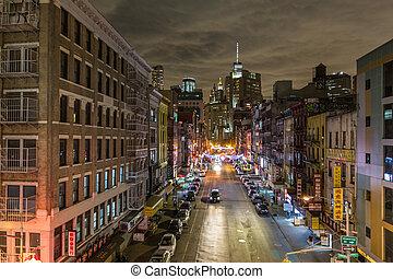 vereint, america., neu , staaten, chinatown, stadt, nacht, york
