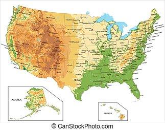 vereint, america-physical, landkarte, staaten