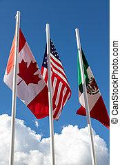vereint, mexiko, himmelsgewölbe, kanada, flattern, flaggen, staaten