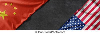 vereint, raum, amerika, staaten, porzellan, flaggen, kopie