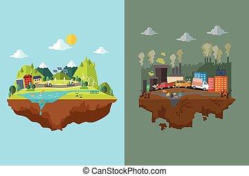Vergleich der sauberen Stadt und verschmutzte Stadt.
