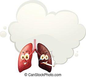 vergleich, lunge, menschliche