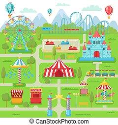 Vergnügungsparkkarte. Familien-Entertainment-Festival Attraktionen Karussell, Achterbahn und ferris Radvektor Illustration