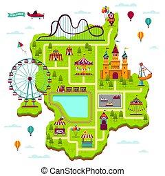 Vergnügungsparkkarte. Scheme Elemente Attraktionen Festival amuse funfair Freizeit Familien Fairground Kinderspiele Cartoon Karte