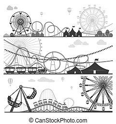 Vergnügungsparks mit lustigen Attraktionen monochrome Illustrationen gesetzt.