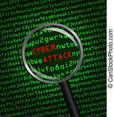 vergrößern, cyber, durch, code, angriff, edv, maschine, aufgedeckt, wörter, glas