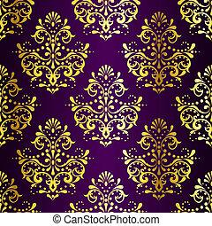Vergrößern Sie Gold auf lila, samtlosem Sarimuster