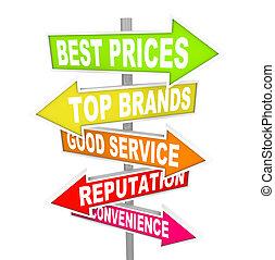 verkauf, anzeigen, -, punkte, pfeil, zeichen & schilder, einmalig, kaufmannsladen