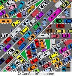 Verkehrsüberlastung auf den Straßen
