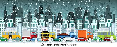 Verkehrsstau in der Stadt (Winter)
