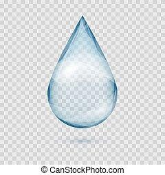 Verkleinern transparenter Wassertropfen Vektor isoliert.