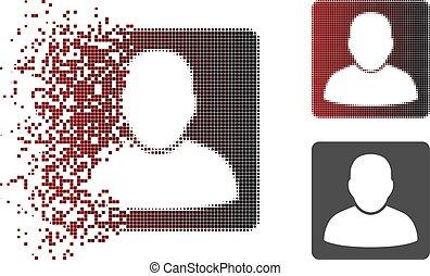 Verkleinerte Pixel Halbton Man vcard Icon