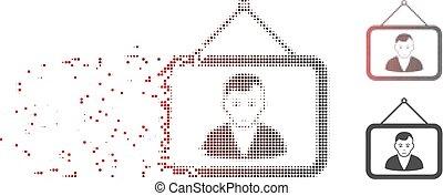 Verkleinertes Pixel-Halbton-Man-Portrait-Icon