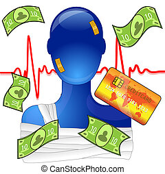 verletzt, hilfe, creditcard, geld, medizin, person, teuer