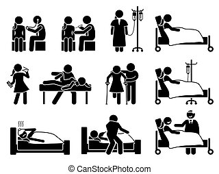 verletzung, medikation, rehabilitation, behandlung, krank, krankheit, klinikum, home., frau