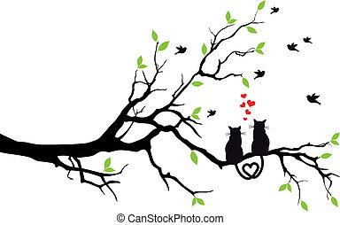 Verliebte Katzen auf Baum, Vektor
