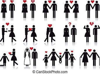 Verliebte Menschen, Vektor Icon Set