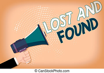 verloren, zurückgefordert, bis, hand, posten, ausstellung, schreibende, found., text, ort, gelagert, analyse, besitz, mann, hu, begrifflich, foto, geschaeftswelt, sie, halftone, wohin, megaphon, pattern.