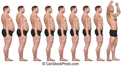 verlust, gewicht, anfall, erfolg, nach, 3d, dicker , vorher, mann