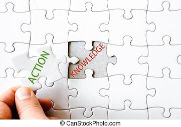 Vermisst Puzzlestück mit Wort ACTION