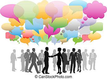 vernetzung, geschaeftswelt, medien, firma, vortrag halten , sozial, blasen