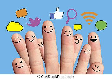 vernetzung, glücklich, smileys, finger, sozial