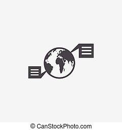 vernetzung, ikone, erdball